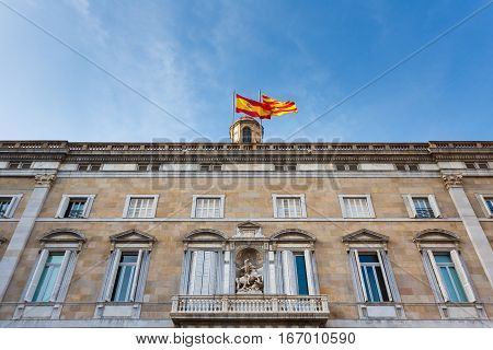 Barcelona Spain - January 02 2017: Palace of the Generalitat of Catalunya located at the Plaza de Sant Jaume in the Gothic Quarter