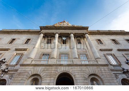 Barcelona Spain - January 02 2017: Cityhall of Barcelona located at the Plaza de Sant Jaume in the Gothic Quarter