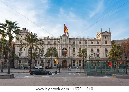 Barcelona Spain - January 02 2017: View of the Palace of the Army General Inspectorate located on the Passeig de Colom street in Barcelona