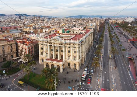Barcelona Spain - January 02 2017: The Palace of Govern Militar de Barcelonaon the background of the urban landscape