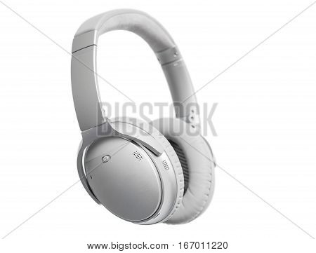 Wireless headphones on white isolated background in studio