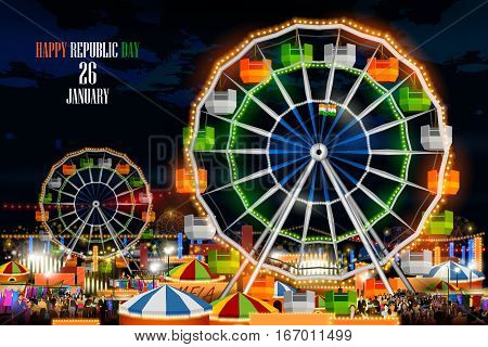 easy to edit vector illustration of mela Fair celebrating Indian holiday Happy Republic Day