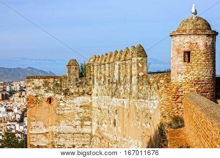 Malaga town, Spain. Gibralfaro Castle fortress ancient building