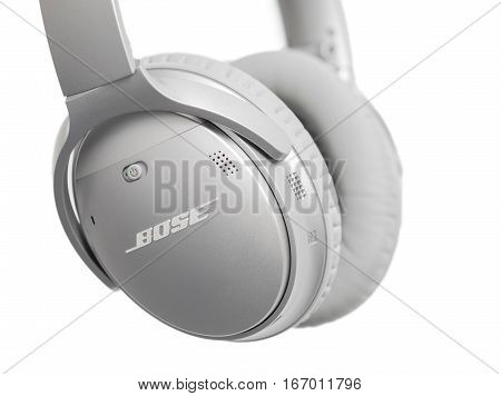 RIGA LATVIA - January 10 2017: Bose QuietComfort 35 wireless headphones isolated on white.