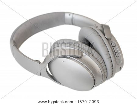 Over-ear wireless headphones on white isolated background