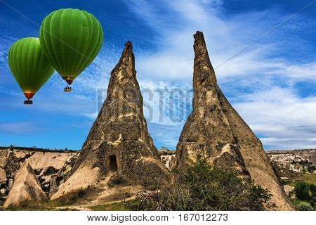 Balloons flying over Cappadocia, Goreme national park, Turkey