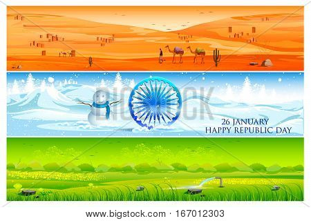 easy to edit vector illustration of background in tricolor showing diversity of nature and landscape of India