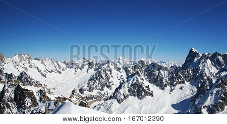 French alps panorama from Aiguille du midi station