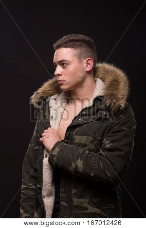 One Young Adult Man Jacket Posing, Upper Body