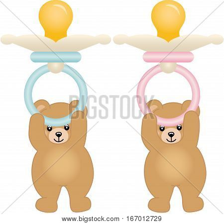 Teddy bears holding pink and blue baby pacifiers