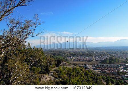 Panoramic view from cerro de la Gloria a hill in Mendoza Argentina South America