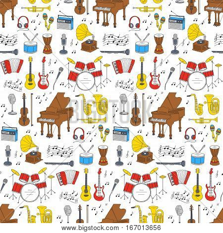 Music icons vector illustrations hand drawn doodle seamless background.  Musical instruments and symbols piano, guitar, drum set, gramophone, microphone, violin,  accordion, saxophone, headphones.