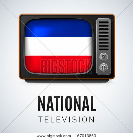 Vintage TV and Flag of Yugoslavia as Symbol National Television. Button with Yugoslavian flag