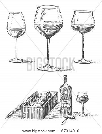 Wine bottle in box with corkscrew and tree goblets or glasses hand drawn engraved old looking vintage illustration in scratchboard tatoo style
