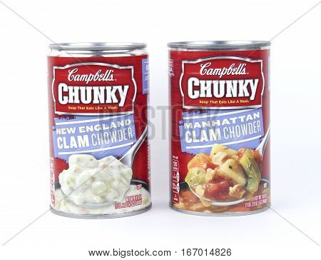 Spencer Wisconsin January272016 Cans of Campbell's Clam Chowder Campbell's Soup Company is an American based company founded in 1869