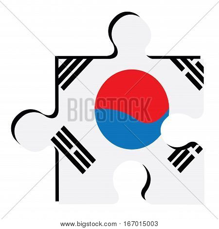 Isolated piece of puzzle with the South Korean flag, Vector illustration