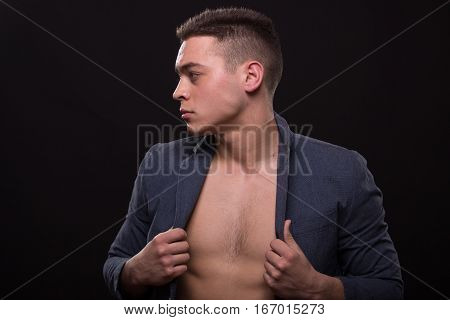 Young Man Suit Jacket Shirtless Chest