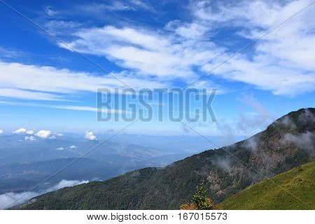 Beautiful blue sky and mountain viewed with cloud in winter. Mountain viewed in thailand. Kio Mae Pan Chiang Mai Thailand.
