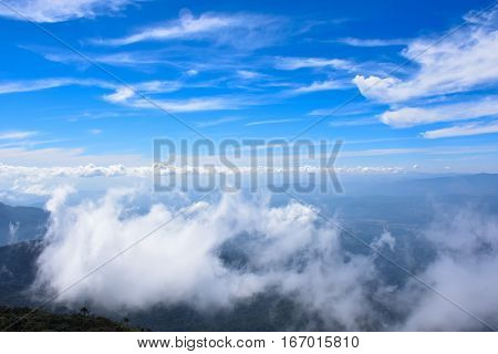 Blue Sky Thailand mountains in the mist and fog. Nature Sky Color Kio Mae Pan Chiang Mai Thailand.