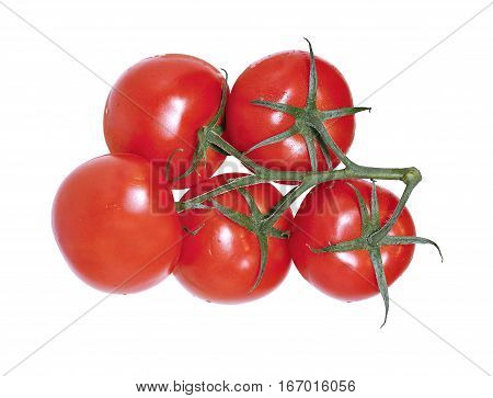 Few red tomatoes on bunch isolated on white background