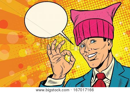 Okay man, pussy hat. Retro pop art comic vector illustration