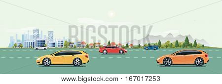 Flat vector cartoon style illustration of urban landscape street with cars skyline city office buildings family houses in small town and mountain with green trees in backround. Traffic and many cars on the road.