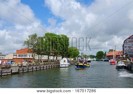 KLAIPEDA LITHUANIA - JULY 11 2015: Ships in Castle port Klaipeda Lithuania