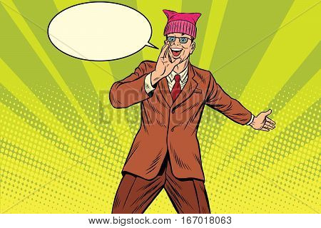 Politician man in a pussyhat campaigning. Retro pop art comic vector illustration