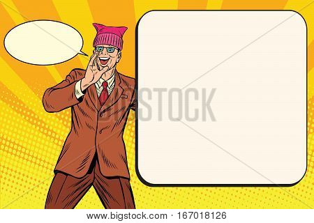 Politician man in a pussy hat campaigning. Retro pop art comic vector illustration