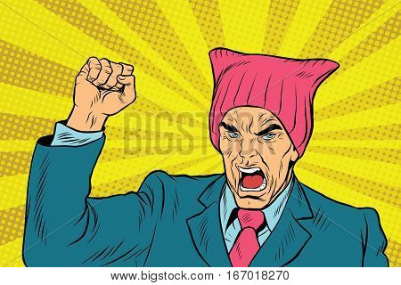 Angry retro politician feminist. pop art comic vector illustration. Man in pussyhat