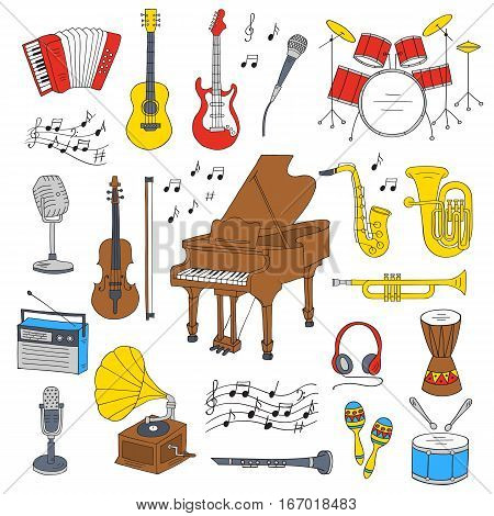 Music icon set vector illustrations hand drawn doodle. Musical instruments piano, guitar, accordion, gramophone, violin, saxophone, microphone