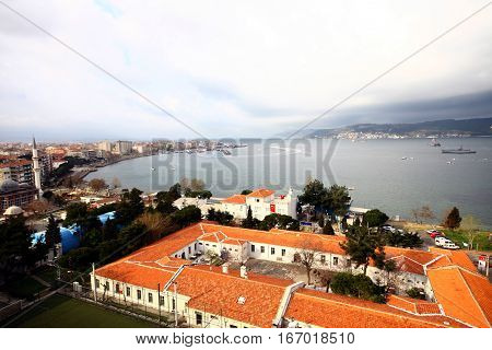 Canakkale city and Dardanelles in West Turkey.