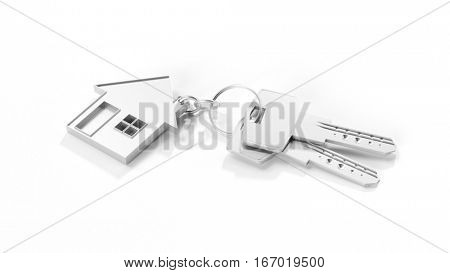 Small house as keychain with keys as house purchase symbol (3D Rendering)