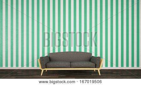 Sofa on wall with greem striped wallpaper in living room (3D Rendering)