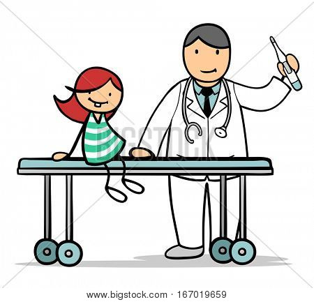 Cartoon of pediatrist and child during examination for treatment