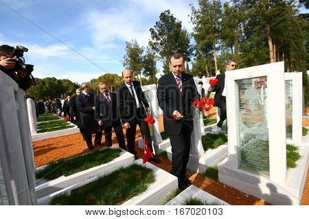 ISTANBUL - FEBRUARY 11: Prime minister Recep Tayyip Erdogan visited Dardanel war monuments and cemetery of soldiers, on 11 February, 2011 in Canakkale, Turkey.