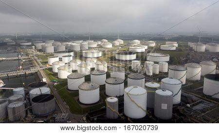 Aerial view of petroleum oil and chemical storage terminals.