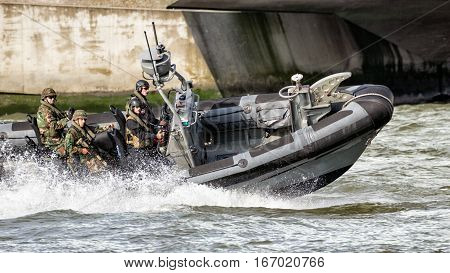 Dutch Marines In A Speedboat