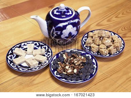 Traditional Uzbek served tea and sweets on a table