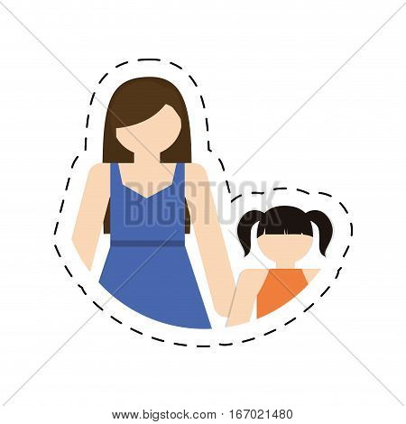 mother daughter together family members vector illustration eps 10