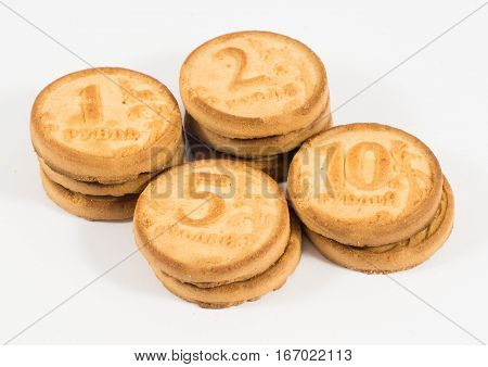 Stacks Of Cookies As The Ruble Coins Rating One, Two, Five, Ten Rubles