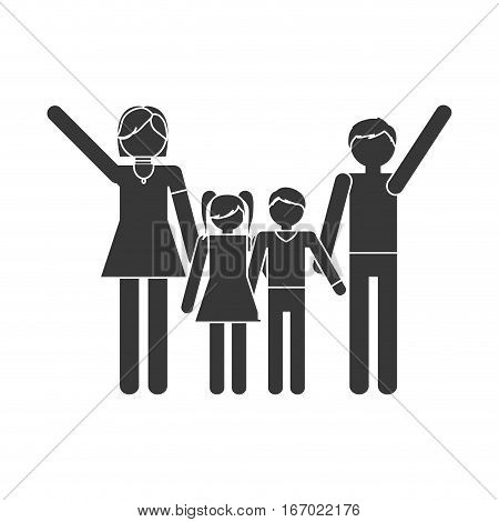 silhouette family together members traditional vector illustration eps 10