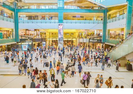 HONG KONG - CIRCA NOVEMBER, 2016: inside New Town Plaza shopping mall in Hong Kong. New Town Plaza is a shopping mall in the town centre of Sha Tin in Hong Kong.