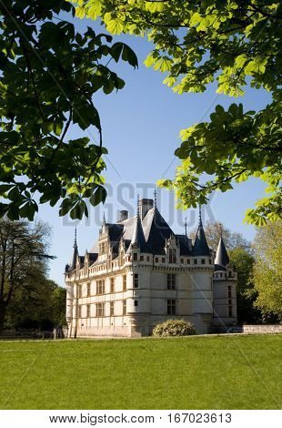 Azay-le-rideau Castle from the garden in Loire Valley, France