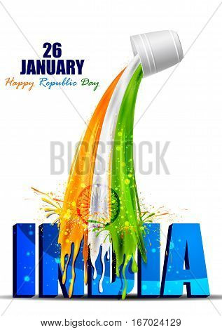 easy to edit vector illustration of colorful splash background for Happy Republic Day of India