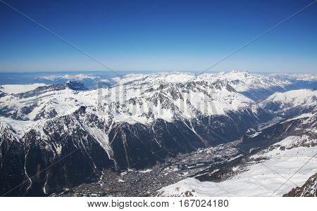 Chamonix Valley from the Aiguille du midi station