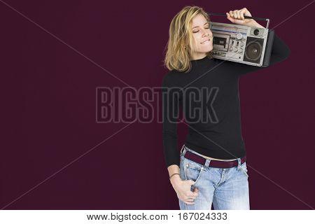 Woman Holding Stereo Jukebox Studio Shoot