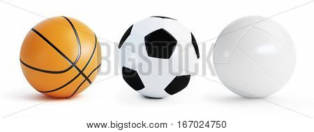 basketball soccer and volleyball Isolated on White Background. 3D illustration