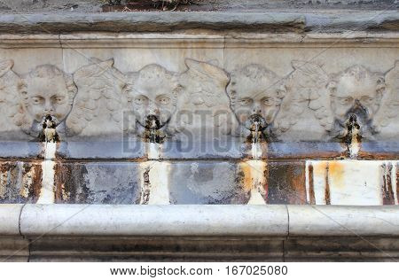 Details of renaissance fountains in Florence, Italy