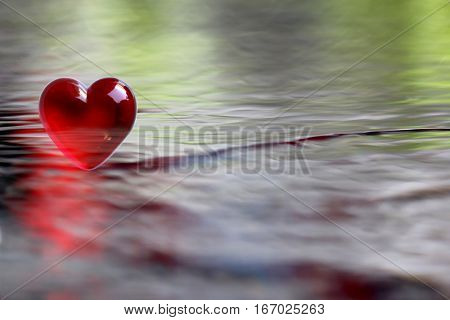 Red Heart with soft focus water reflections